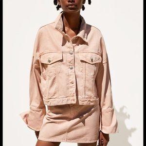 Zara denim jacket in pink